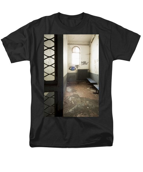 Abandoned Prison Cell With Grafitti Of Eye On Wall Men's T-Shirt  (Regular Fit) by Dirk Ercken