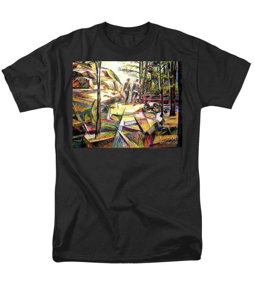 Men's T-Shirt  (Regular Fit) featuring the drawing Abstract Landscape With People by Stan Esson