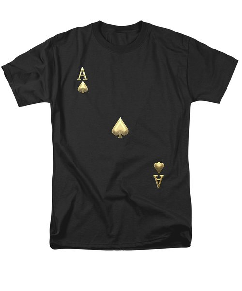 Ace Of Spades In Gold On Black   Men's T-Shirt  (Regular Fit) by Serge Averbukh