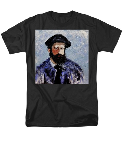 Men's T-Shirt  (Regular Fit) featuring the painting After Monet-self Portrait With A Beret  by Cristina Mihailescu
