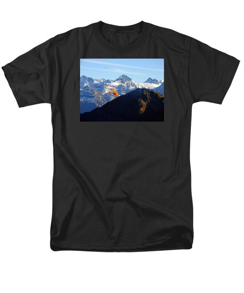 Airplane In Front Of The Alps Men's T-Shirt  (Regular Fit) by Ernst Dittmar