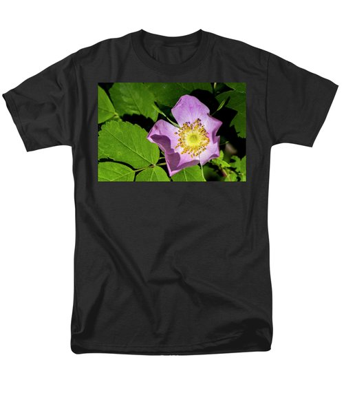Men's T-Shirt  (Regular Fit) featuring the photograph Alberta Wild Rose Opens For Early Sun by Darcy Michaelchuk