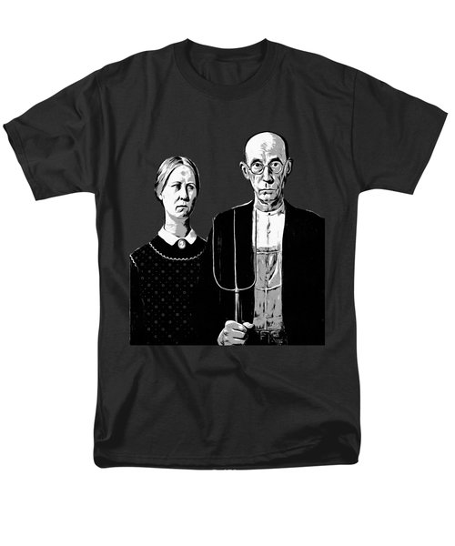 American Gothic Graphic Grant Wood Black White Tee Men's T-Shirt  (Regular Fit) by Edward Fielding