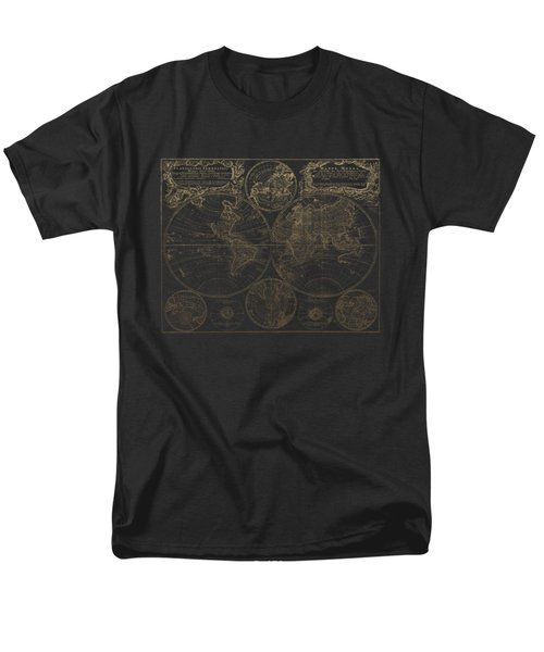 Antique Map Of The World - Gold On Black Canvas Men's T-Shirt  (Regular Fit) by Serge Averbukh