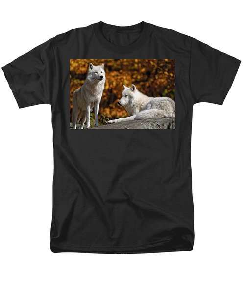 Men's T-Shirt  (Regular Fit) featuring the photograph Arctic Wolves On Rocks by Michael Cummings