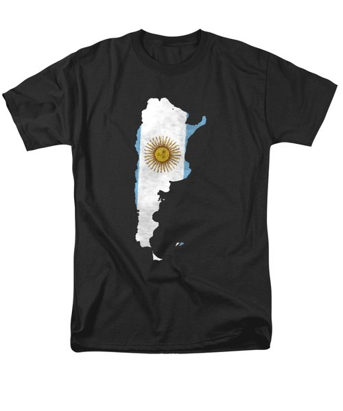 Argentina Map Art With Flag Design Men's T-Shirt  (Regular Fit) by World Art Prints And Designs