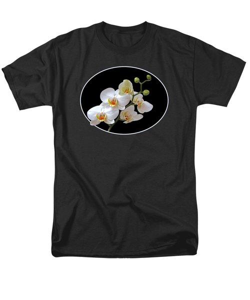 White Orchids On Black Men's T-Shirt  (Regular Fit) by Gill Billington