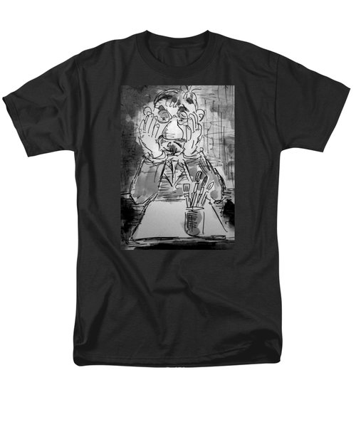 Old Geezer Grappling With A White Sheet Of Paper Men's T-Shirt  (Regular Fit) by Alfred Motzer