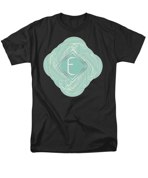 1920s Blue Deco Jazz Swing Monogram ...letter E Men's T-Shirt  (Regular Fit) by Cecely Bloom