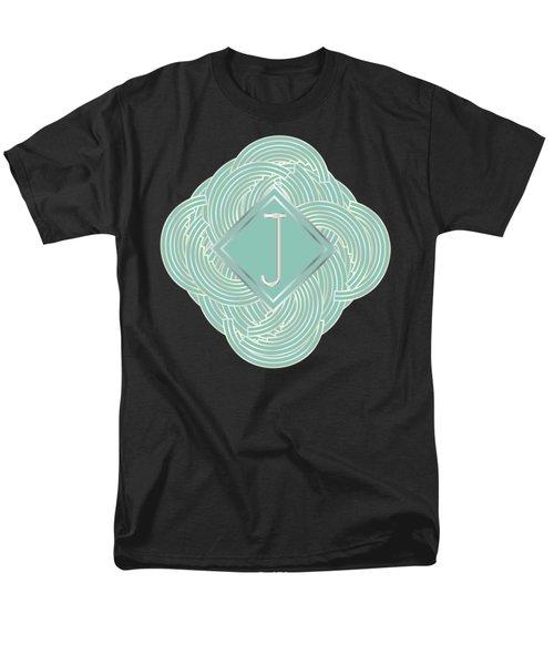 1920s Blue Deco Jazz Swing Monogram ...letter J Men's T-Shirt  (Regular Fit) by Cecely Bloom