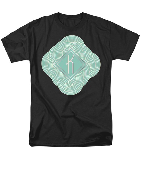 1920s Blue Deco Jazz Swing Monogram ...letter K Men's T-Shirt  (Regular Fit) by Cecely Bloom
