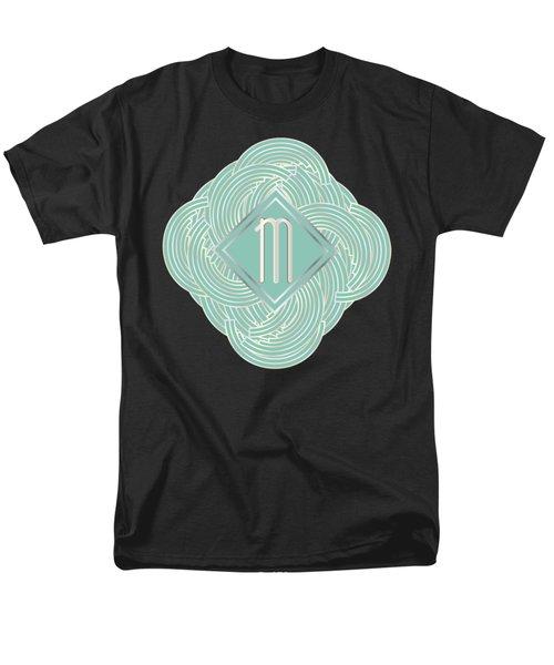 1920s Blue Deco Jazz Swing Monogram ...letter M Men's T-Shirt  (Regular Fit) by Cecely Bloom