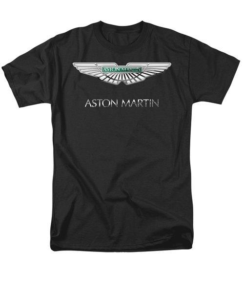 Aston Martin 3 D Badge On Black  Men's T-Shirt  (Regular Fit) by Serge Averbukh