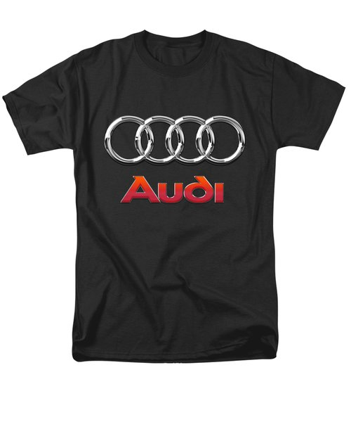 Audi 3 D Badge On Black Men's T-Shirt  (Regular Fit)