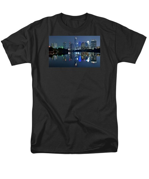 Austin Night Reflection Men's T-Shirt  (Regular Fit) by Frozen in Time Fine Art Photography