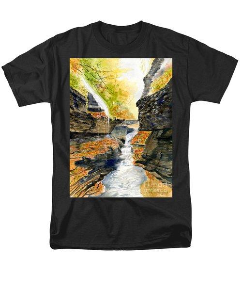 Autumn At Rainbow Falls  Men's T-Shirt  (Regular Fit) by Melly Terpening