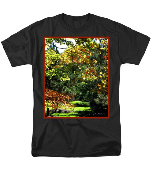 Men's T-Shirt  (Regular Fit) featuring the photograph Autumn Backyard by Joan  Minchak