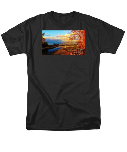 Men's T-Shirt  (Regular Fit) featuring the photograph Autumn Beauty Lake Ontario Ny by Judy Via-Wolff