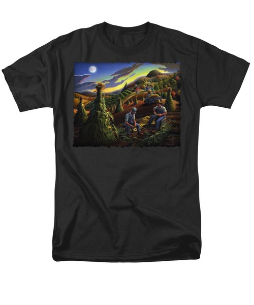 Autumn Farmers Shucking Corn Appalachian Rural Farm Country Harvesting Landscape - Harvest Folk Art Men's T-Shirt  (Regular Fit) by Walt Curlee