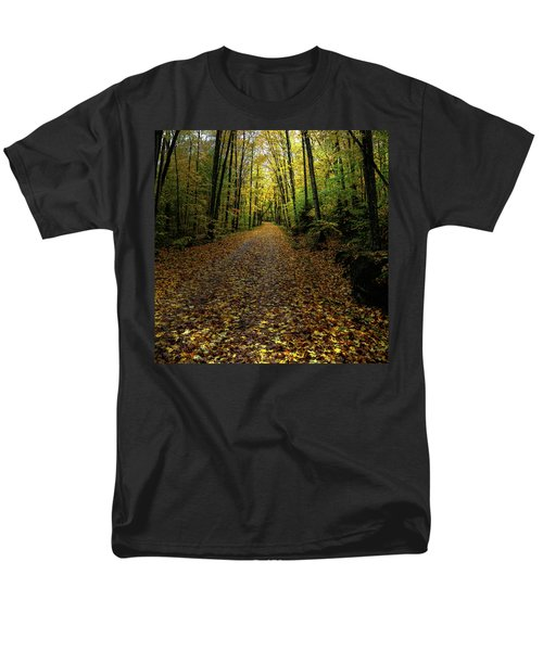 Men's T-Shirt  (Regular Fit) featuring the photograph Autumn Leaves On The Trail by David Patterson