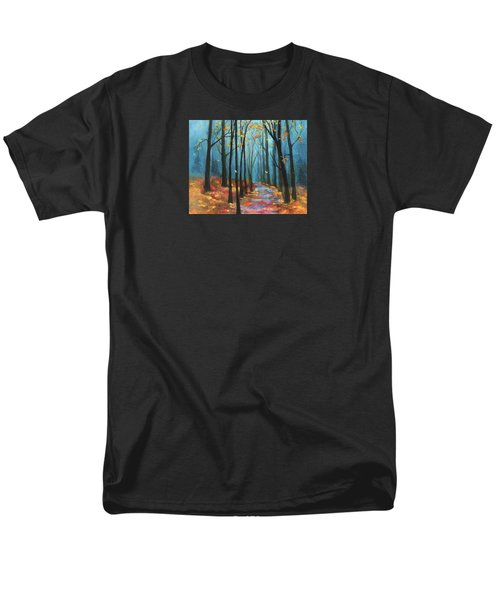 Men's T-Shirt  (Regular Fit) featuring the painting Autumn Path by Terry Webb Harshman