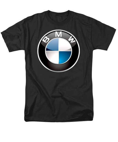 B M W  3 D Badge On Black Men's T-Shirt  (Regular Fit) by Serge Averbukh