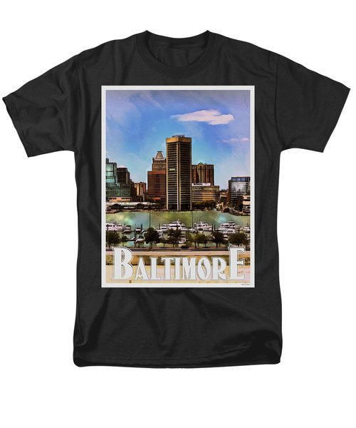 Men's T-Shirt  (Regular Fit) featuring the painting Baltimore Skyline by Kai Saarto