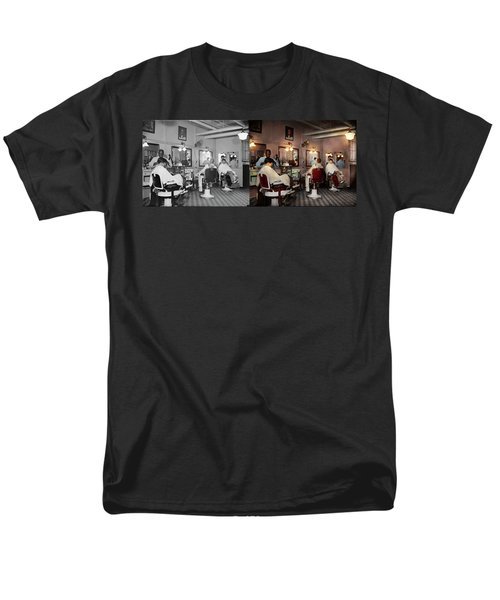 Men's T-Shirt  (Regular Fit) featuring the photograph Barber - Senators-only Barbershop 1937 - Side By Side by Mike Savad