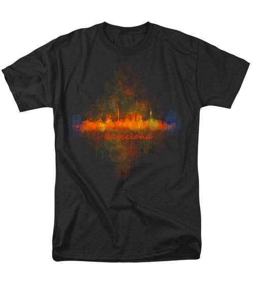 Barcelona City Skyline Uhq _v4 Men's T-Shirt  (Regular Fit) by HQ Photo