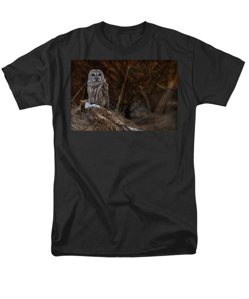 Men's T-Shirt  (Regular Fit) featuring the photograph Barred Owl On Log by Michael Cummings