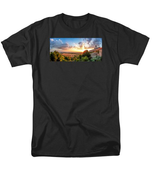 Basilica Of St. Francis Of Assisi At Sunset, Umbria, Italy Men's T-Shirt  (Regular Fit) by JR Photography