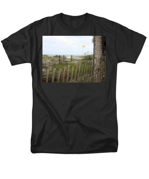 Men's T-Shirt  (Regular Fit) featuring the photograph Beach Fence On Hunting Island by Ellen Tully