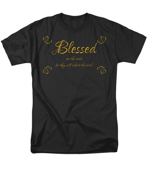 Beatitudes Blessed Are The Meek For They Will Inherit The Earth Men's T-Shirt  (Regular Fit) by Rose Santuci-Sofranko