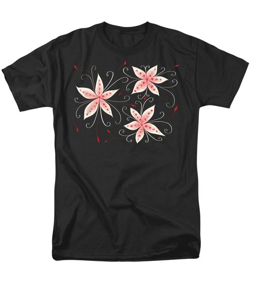 Beautiful Abstract White Red Flowers Men's T-Shirt  (Regular Fit)