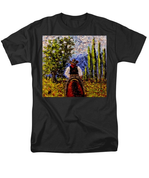 Men's T-Shirt  (Regular Fit) featuring the painting Before The Sun Goes Down.. by Cristina Mihailescu