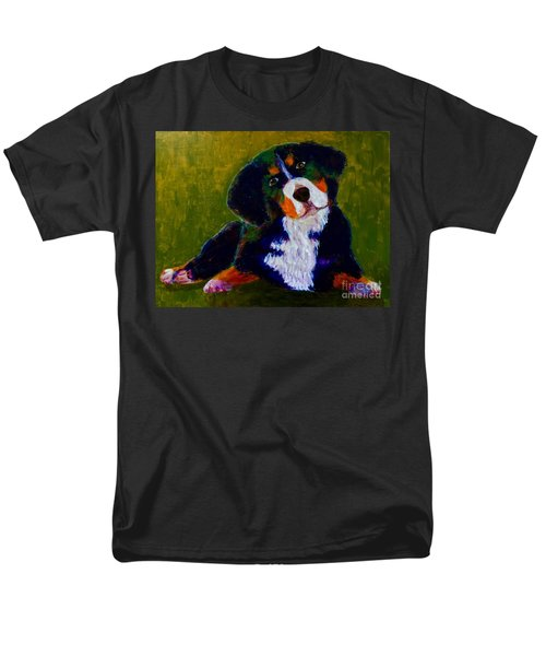 Men's T-Shirt  (Regular Fit) featuring the painting Bernese Mtn Dog Puppy by Donald J Ryker III