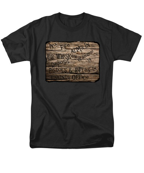 Men's T-Shirt  (Regular Fit) featuring the drawing Big Whiskey Fire Arm Sign by Movie Poster Prints