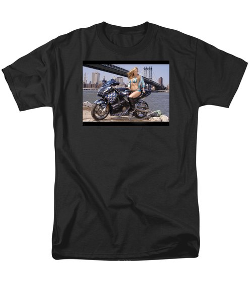 Men's T-Shirt  (Regular Fit) featuring the photograph Bike, Babe, And Bridge In The Big Apple by Lawrence Christopher
