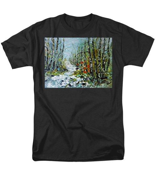Birches Near Waterfall Men's T-Shirt  (Regular Fit) by AmaS Art