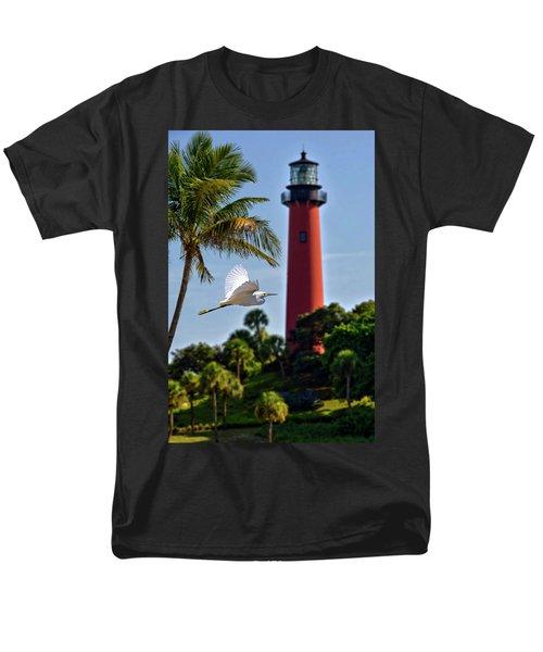 Bird In Flight Under Jupiter Lighthouse, Florida Men's T-Shirt  (Regular Fit) by Justin Kelefas