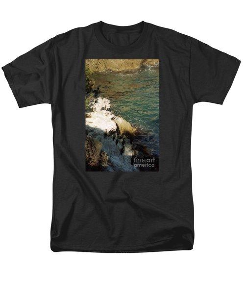 Birds On Rock Above Pacific Ocean Men's T-Shirt  (Regular Fit) by Ted Pollard