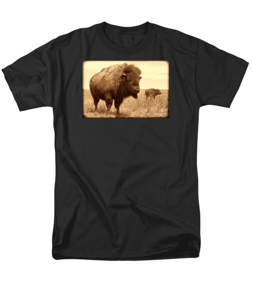 Bison And Calf Men's T-Shirt  (Regular Fit) by American West Legend By Olivier Le Queinec