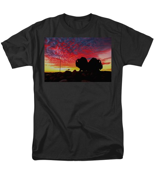 Men's T-Shirt  (Regular Fit) featuring the photograph Bison Sunset by Larry Trupp