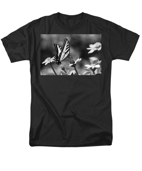 Black And White Butterfly On Flower Men's T-Shirt  (Regular Fit) by Jim and Emily Bush
