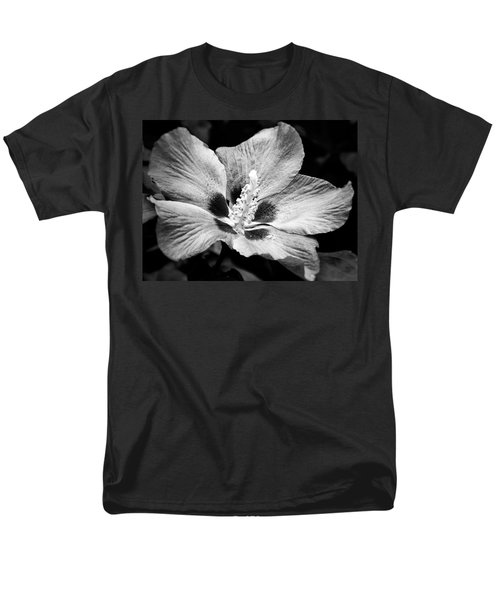 Men's T-Shirt  (Regular Fit) featuring the photograph Black And White Hibiscus  by Karen Stahlros