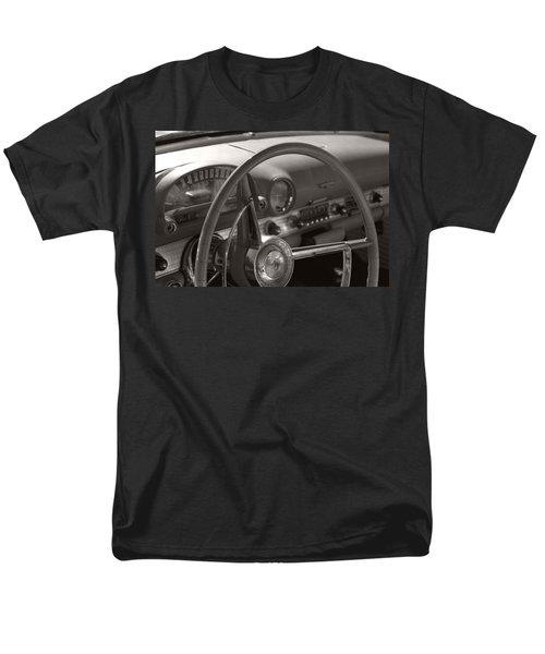 Black And White Thunderbird Steering Wheel  Men's T-Shirt  (Regular Fit) by Heather Kirk