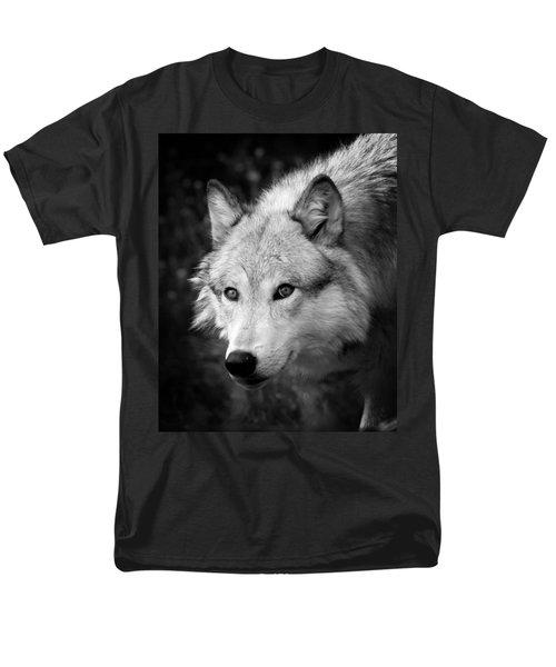 Black And White Wolf Men's T-Shirt  (Regular Fit) by Steve McKinzie
