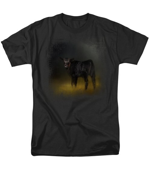 Black Angus Calf In The Moonlight Men's T-Shirt  (Regular Fit) by Jai Johnson