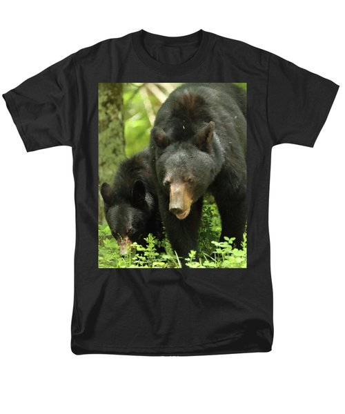 Men's T-Shirt  (Regular Fit) featuring the photograph Black Bear And Cub On Ground by Coby Cooper