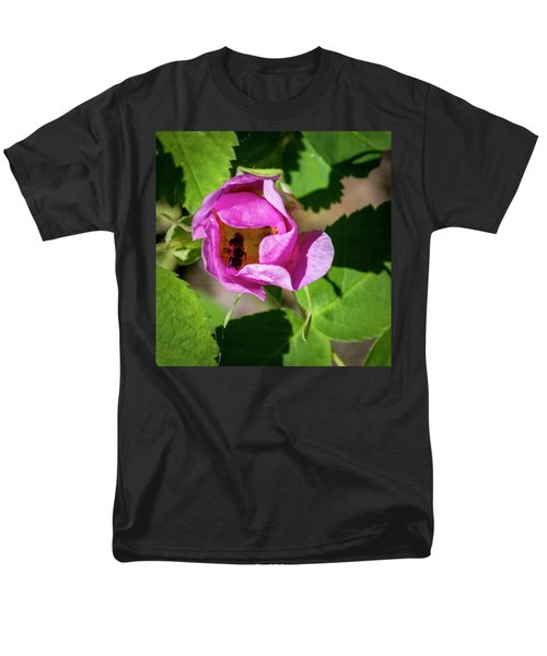 Men's T-Shirt  (Regular Fit) featuring the photograph Black Bee Collecting Pollen by Darcy Michaelchuk